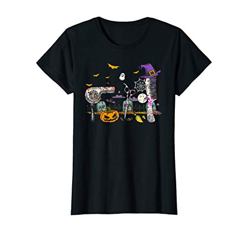 Womens Hairdresser Funny Halloween Costume Pumpkins With Witch Hat T-Shirt