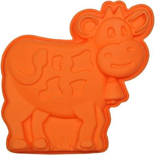 Promobo Moule à gâteau en silicone en forme de vache Animal Orange