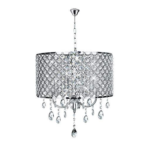 Lampadario a sospensione in cristallo, con elegante paralume, di forma cilindrica, attacco E14 (lampadina non inclusa)
