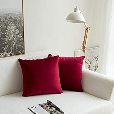 MIULEE Pack of 2, Velvet Soft Soild Christmas Decorative Square Throw Pillow Covers Set Cushion Cases PillowCases for Sofa Bedroom Car18 x 18 Inch 45 x 45 Cm