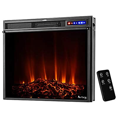 "e-Flame USA Whistler 28""x24"" LED Electric Fireplace Stove Insert with Remote - 3D Logs and Fire (Black)"