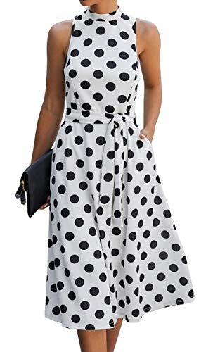 Angashion Women Dresses Off Shoulder Ruffle Casual Short Sleeves Polka Dot Floral Maxi Dress with Belt 2028White X-Large