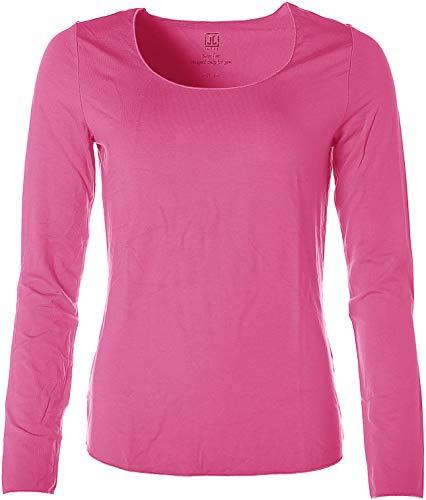 JETTE Damen Basic Langarm Shirt T-Shirt Rundhals Rosa 46