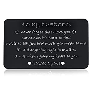 Husband Boyfriend Christmas Gifts Wallet Insert for Men Him from Wife Girlfriend Birthday Valentines Present Love Card for Hubby Fiancé Groom Fathers Day Anniversary New Year Wedding Gift Him Her