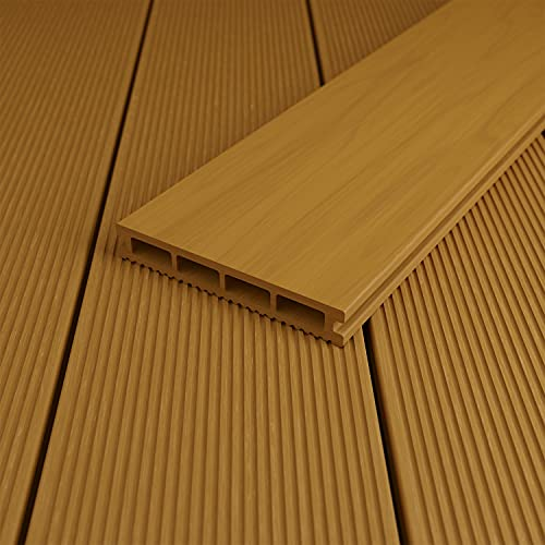 blumfeldt Pantheon Solid Ground - Pannelli Di Pavimentazione Per Gazebo, Accessorio, Sistema a Innesto, Pannelli in WPC: 60% Legno, 40% Plastica, Dimensioni: 3 x 0,015 x 3 m (LxAxP), Marrone Chiaro
