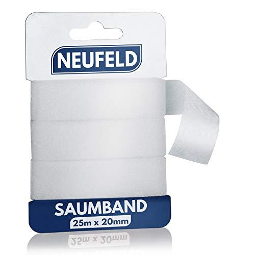 NEUFELD® Saumband zum Aufbügeln 25m (inkl. Anleitung) I Bügelband zum Kürzen für Vorhänge I Bügelkleber für Textilien I Gardinen kürzen ohne Nähen (25m x 20mm)
