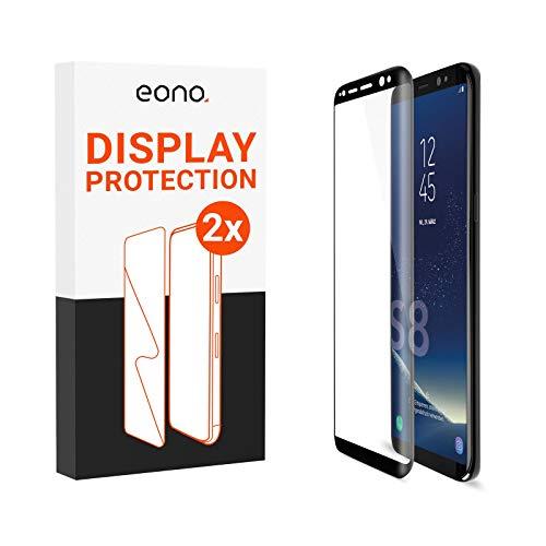 Eono 3D Panzerglas [2 Stück] kompatibel mit [Galaxy S8] - Schutzglas mit 100% Display-Abdeckung gegen Displaybruch - 9H, Case Friendly