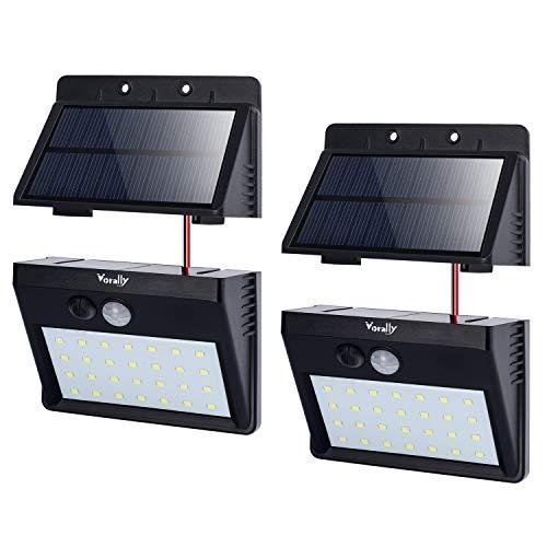 ソーラーライト Vorally 明るい 人感センサーライト 屋外 白光 パネル分離可能 2.5mケーブル付き 3つ点灯モード 夜間自動点灯 防犯ライト 太陽光発電 庭 玄関 ガーデンライト 日本語取扱付属 1年保証 (2個セット)