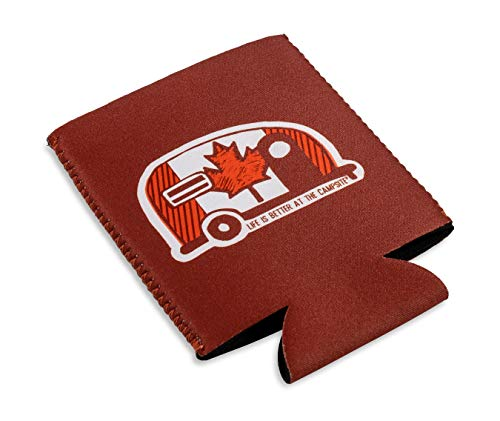 Camco Life is Better at the Campsite Can Sleeve - Keeps Your Beverage Cold - Fits 12 oz. cans - Features a Canada Flag Mini Camper Design (53373)