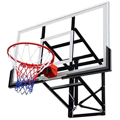 Kingtowag Basketball Hoop Garage Wall Mounted Adjustable-Height, 54 Inch Tempered Glass Backboard, Durable Bracket and Net