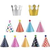 Ovtai Partyhüte, Party Kegel Hüte, 11 Stück Happy Birthday Partyhüte mit Pom Poms, Kuchen Kegel Geburtstag Papier Hüte, Geburtstag Dekoration Set für Kinder und Erwachsene, Spaß...
