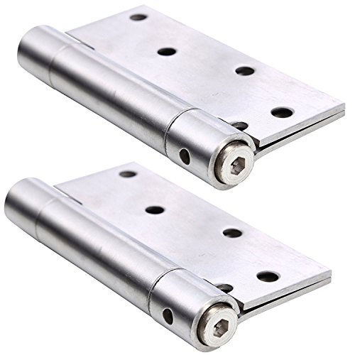 Ranbo Commercial Grade Stainless Steel Ball Bearing Heavy Duty Spring Loaded Door Butt Hinge,Automatic Closing/Soft Closer/Adjustable Tension 5 X 4 inch Brushed Chrome(1 Pair) Thickness 3 mm