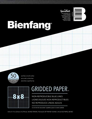 Bienfang Designer Grid Paper Pad, 8 x 8 Cross Section, 8.5-Inch by 11-Inch, 50 Sheets