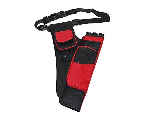 IRQ al Aire Libre Caza Tiro con Arco Flecha Titular cinturón carcaj de Arco con Ajustable cinturón de formación para Mano Derecha, 3Tubos, Rojo