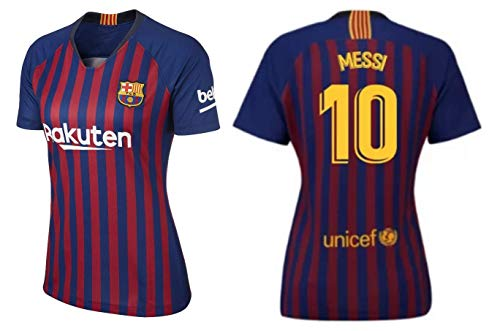 Lionel Messi Barcelona #10 Women's Soccer Jersey Home Short Sleeve Adult Sizes (XS, Jersey)