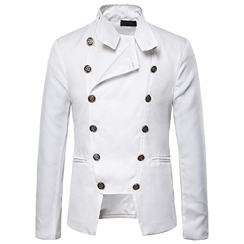 FULUN Mens Long Sleeve T-Shirt Party Tee Shirts Tops for Wedding Dinner Men's Casual Fashion Buttons Stand Collar Slim Fit Coat Jacket Outwear Tuxedo Blazer Autumn Winter White