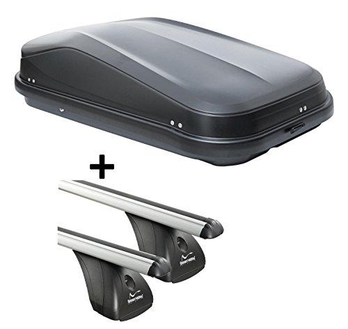 VDP Dachbox JUEASY320 320Ltr schwarz glänzend abschließbar + Aluminium Dachträger Aurilis Original kompatibel mit Opel Corsa D (3-5Türer) 2006-2015