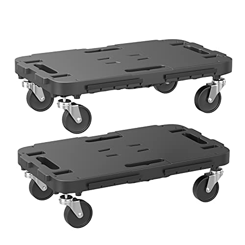 """Goplus Moving Dolly, Heavy Duty Furniture Rolling Mover with 4 Wheels for Piano Heavy Items Appliance, Interlocking System, 660 lbs Weight Capacity, 19"""" x 11"""" (L x W) (2)"""