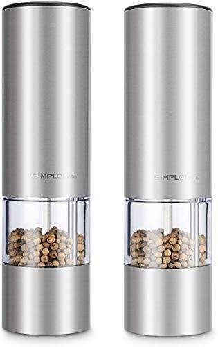 SIMPLETASTE Elektrische Pfeffermühle Salzmühle, mit Verstellbarem Keramikmahlwerk 2er Set Gewürzmühle aus Edelstahl Batteriebetrieben mit LED