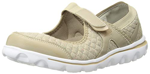 Propet Womens Onalee Mary Jane Flat, Beige Quilt, 10 Medium US