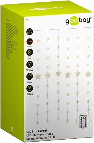 Goobay 57941 80 LED Tenda luminosa con telecomando, funzione timer, 8 modalità di illuminazione, dimmer e trasformatore esterno da 31 V, luce bianca calda (3000 K), IP44