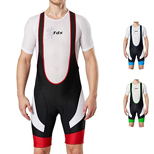 FDX Culote de ciclismo con tirantes para hombre, acolchado, pantalones cortos, color...