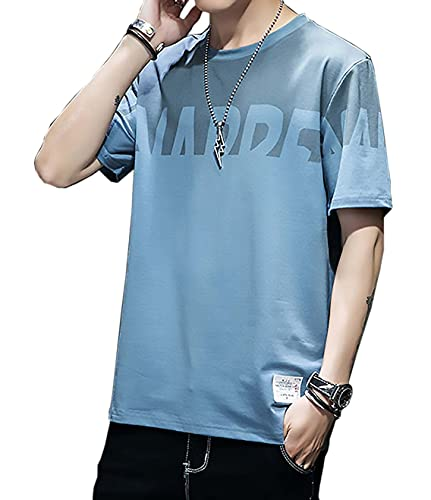 [Make 2 Be] 前から後ろまでグルッとオシャレロゴシャツ 春夏 メンズ カットソー Tシャツ バイカラー インナー 薄手 綿素材 速乾 コットン 半袖 長袖 モード系 M-XL T11 (13.半袖_BLUE_XL)