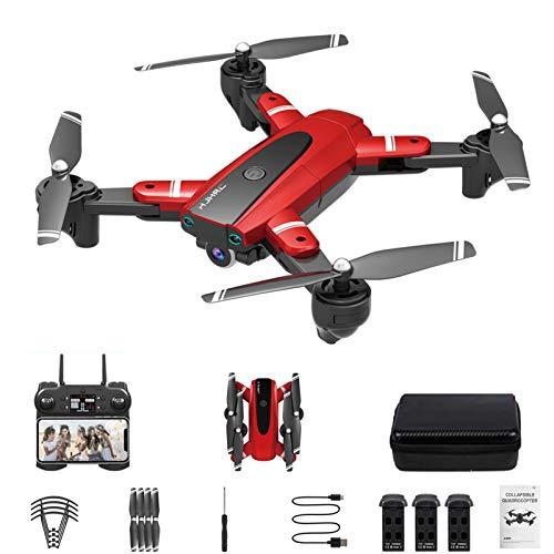 Drone xuelili HJ-68 com câmera 4K HD para adultos, quadricóptero dobrável com vídeo ao vivo FPV grande angular, trajetória, controle de aplicativos, fluxo óptico,drone para iniciantes,Vermelho