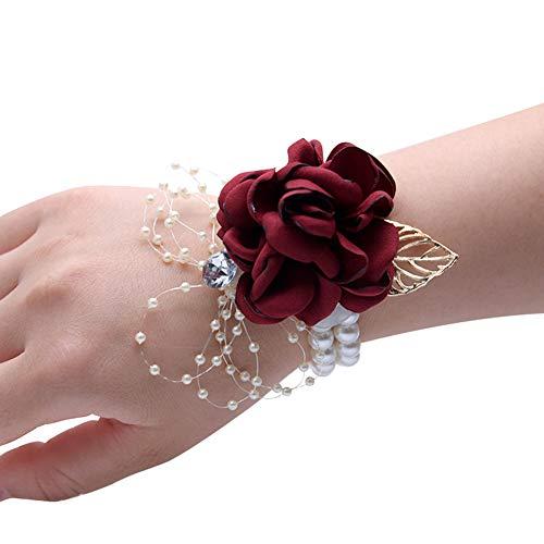 Cratone Pulsera de flores para dama de honor para boda, graduación, fiesta, regreso a casa