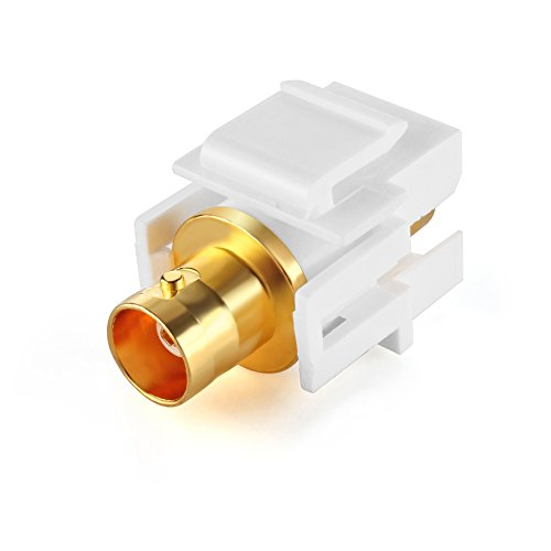 TNP BNC Keystone Jack Insert Connector Socket (5 Pack) Female Snap In Adapter Port Gold Plated Inline Coupler For Wall Plate Outlet Panel Mount (White)