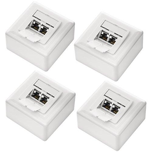 deleyCON 4X CAT 6 Universal Netzwerkdose - 2X RJ45 Port - Geschirmt - Aufputz oder Unterputz - 1 Gigabit Ethernet Netzwerk - EIA/TIA 568A&B - Weiß