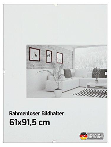 Rahmenloser Bildhalter Bilderrahmen für Maxi Poster - Größe 61 x 91,5 cm, Rahmenlos, 14 Metall-Klemmen - Antireflex Acrylglas