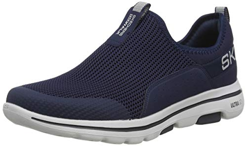 Skechers Herren Go Walk 5 Slip On Sneaker, Blau (Navy Textile/Synthetic/Gray Trim Nvgy), 49 EU
