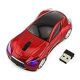 huiingwen Mouse wireless 2,4 GHz a forma di auto con ricevitore USB per PC e computer portatile rosso