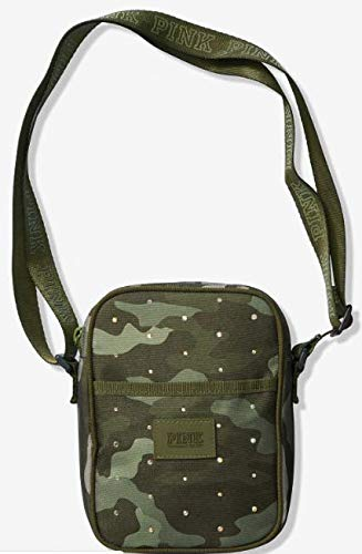 rare - hard to find - VICTORIA SECRET PINK PURE CAMO WITH RHINESTONES. OLIVE GREEN - SPORT CROSSBODY BAG - LIMITED - RARE - SOLD OUT