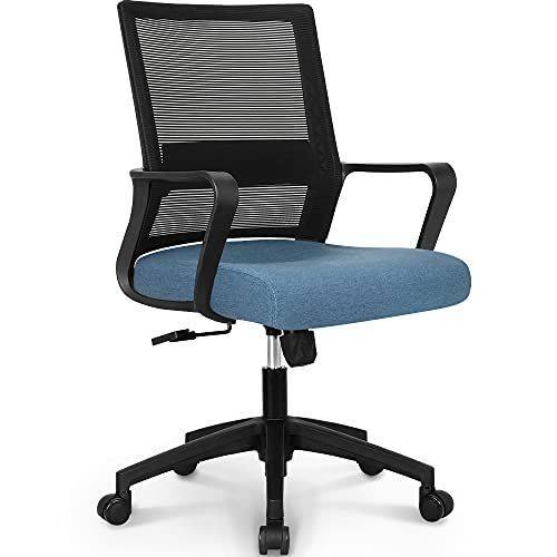 NEO CHAIR Office Swivel Desk Ergonomic mesh Adjustable Lumbar Support Computer Task Back armrest Home Rolling Women Adults Men Chairs Height Comfortable Gaming Guest Reception (Blue)