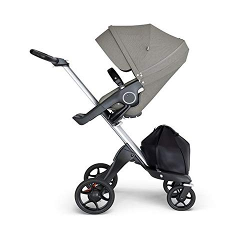 New Stokke Xplory Silver Chassis & Stroller Seat in Brushed Grey and Black Handle