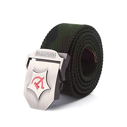 NSXLSCL Cinturón Táctico Militar - Cinturón De Lona Unisex con Hebilla De Metal con Hoz De Martillo Rojo - Cinturón Elástico Tejido Ajustable Informal para Hombres Y Mujeres Correa De Cintura D
