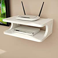 SKAFA Set Top Box Wall Shelf Wall Mount Stand Wooden Set top Box Holder Wall Mount Wall Shelves (25x21x10, White`)
