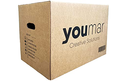 Youmar Solutions - 12 Boîtes de Déménagement en Carton (Taille M) avec Poignées - Extra Résistantes Fabriqué en Espagne - 440x300x250mm Ultra Résistant Poids 600g / m2 - les tailles (M / L / XL)