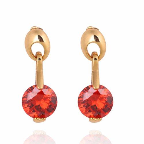 Yazilind Encanto liso chapado en oro del diseño simple Ronda de los pendientes de gota roja Circonita cuelgan de Idea regalo de las mujeres