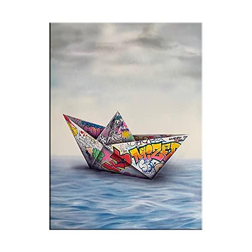 CBYLDDD Pintura de Arte de Arte Origami Pintura de Lienzo Pintura y Estampados Cuadros Wall Art Fotografías para Sala de Estar Decoración del hogar 16x24in Sin Marco