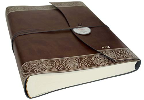 LEATHERKIND Personalised Olympia Recycled Leather Photo Album Celtic Brown, Large Classic Style Pages - Handmade in Italy