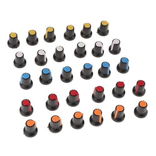 30 Stücke WH148 AG2 Potentiometer Knopf Hut Einzigen Gemeinsamen Potentiometer Kunststoff Knöpfe Kit