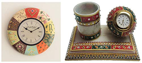 eCraftIndia Colourful Decorative Handcrafted Wood Wall Clock (28.75 cm X 2.5 cm X 28.75 cm) & Meenakari Pen Stand with Watch (6 in, White, Green and Red) Combo