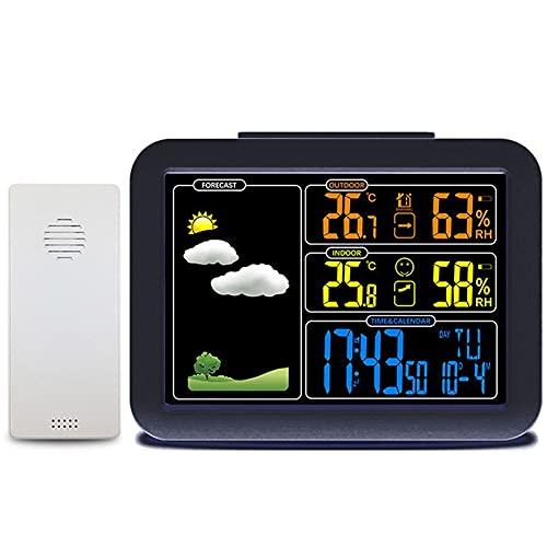 Estación Meteorológica con Wireless Sensors, Weather Station Digital en Color, Barómetro con Temperatura/Humedad/Barométrico/Pronóstico, para Home Bedroom Garden Interior Exterior