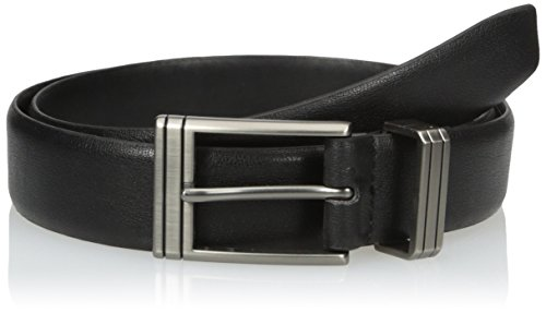 Van Heusen Men's Leather Dress Belt with Engraved Metal Loop