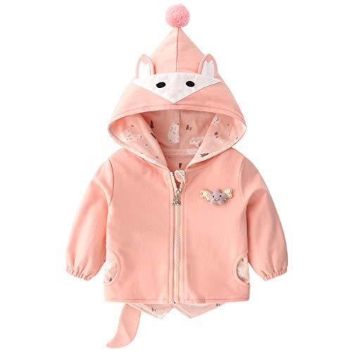 PROTAURI Chaqueta para bebé, chaqueta de punto con orejas de dibujos animados, chaqueta con capucha para otoño e invierno Rosa. 12-18 Meses