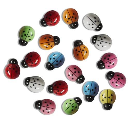 Steellwingsf 100 pcs Mini 3D Plastique Ladybug Micro Paysage bonsaï Ornement Home Office Décor extérieur, Plastique, Multicolore, Taille Unique