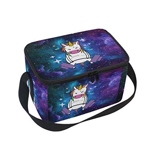 Unicorn Rainbow Barbell Sac à déjeuner isotherme, Violet et Vert Galaxy réutilisable durable thermique Portable Boîte à lunch Tote Sac isotherme déjeuner Organiseur pour travail école bureau extérieur de pique-nique BBQ